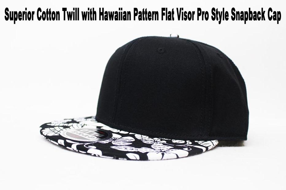 flower print flat visor cap